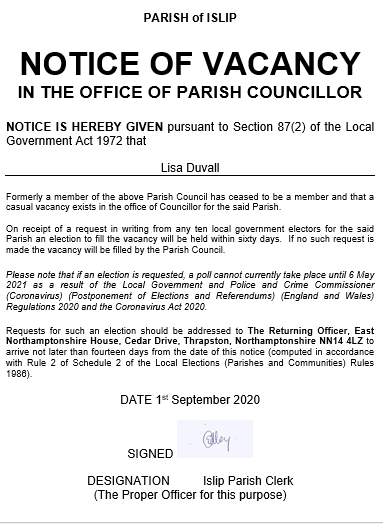 Notice of Vacancy in the Office of Parish Councillor- dated 1st September