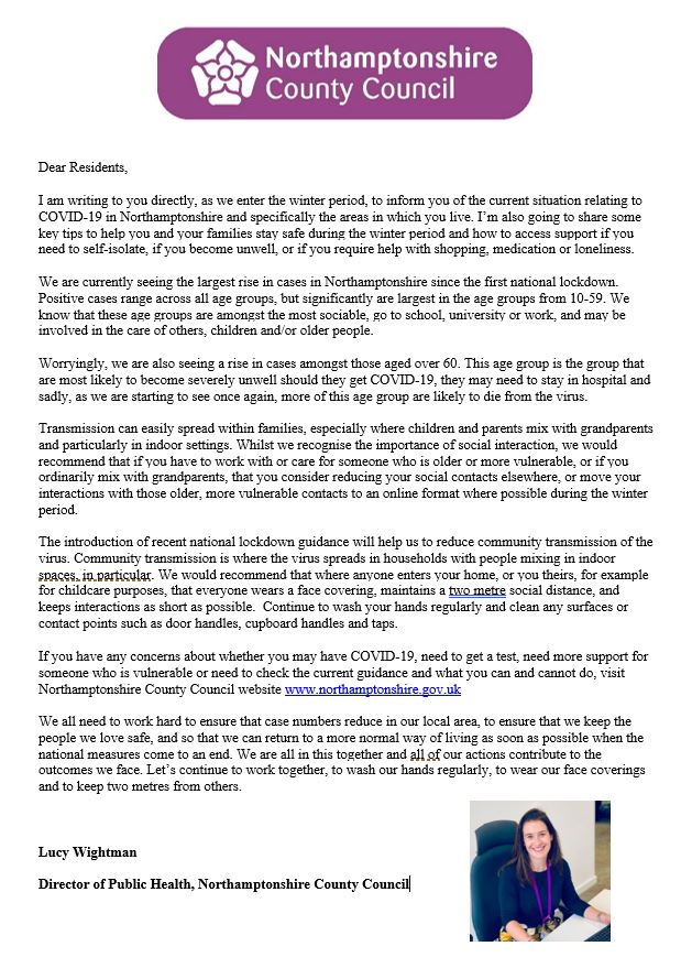 A letter explaining how to stay safe during the second covid lockdown